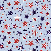 Load image into Gallery viewer, red white light blue stars large patriotic independence stripes studio e fabric