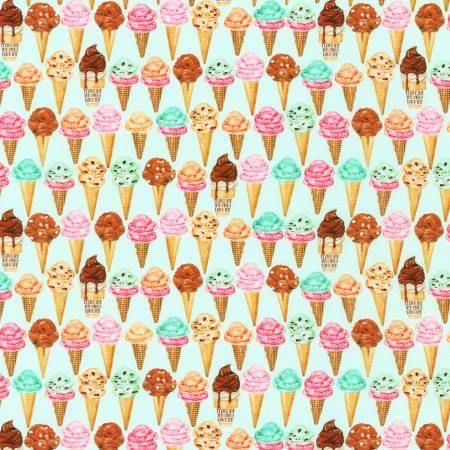 Robert Kaufman - Sweet Tooth - Mint Ice Cream Cones - 1/2 YARD CUT - Dreaming of the Sea Fabrics