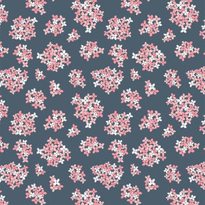 Poppie Cotton - Almost Heaven - Navy Floral - 1/2 YARD CUT