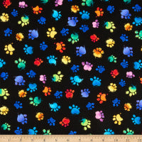 Timeless Treasures - Black Cat Paws - 1/2 YARD CUT