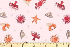 Lewis & Irene - Small Things by the Sea - Rock Pool Light Crab - 1/2 YARD CUT