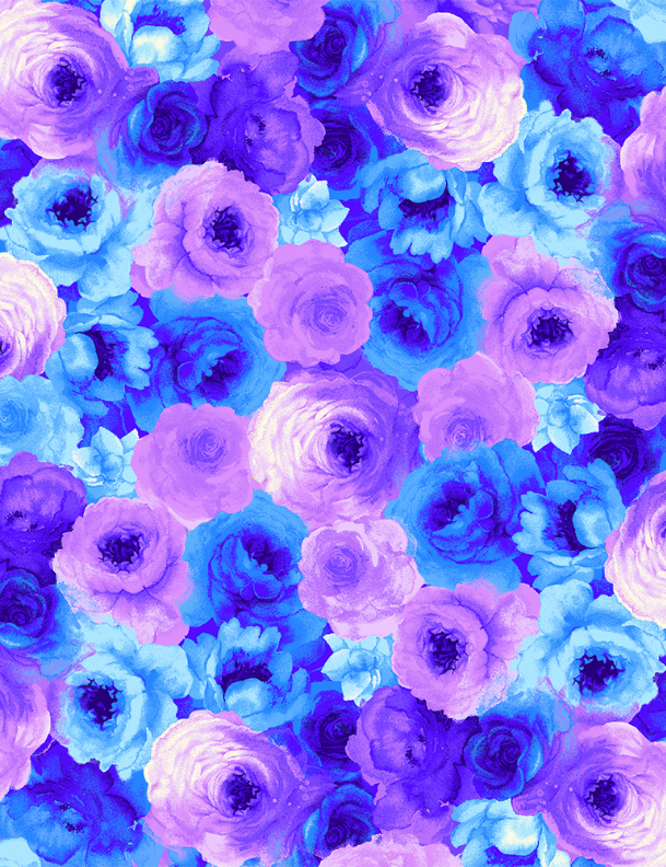 Timeless Treasures - Packed Blue and Purple Roses - 1/2 YARD CUT