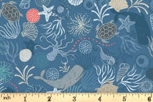 Load image into Gallery viewer, Lewis & Irene - Under the Sea - Dark Blue - 1/2 YARD CUT
