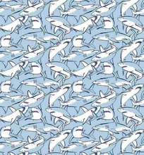Load image into Gallery viewer, light blue and white under the sea sharks infested waters 57 meters down the shallows ocean bootylicious dear Stella fabric