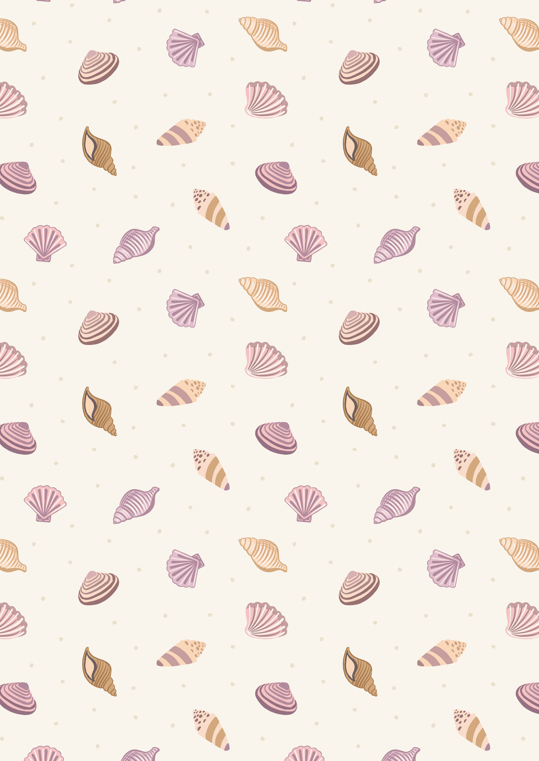 Lewis & Irene - Small Things by the Sea - Cream Shells - 1/2 YARD CUT