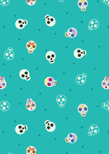 Load image into Gallery viewer, lewis and irene sugar skulls glow turquoise