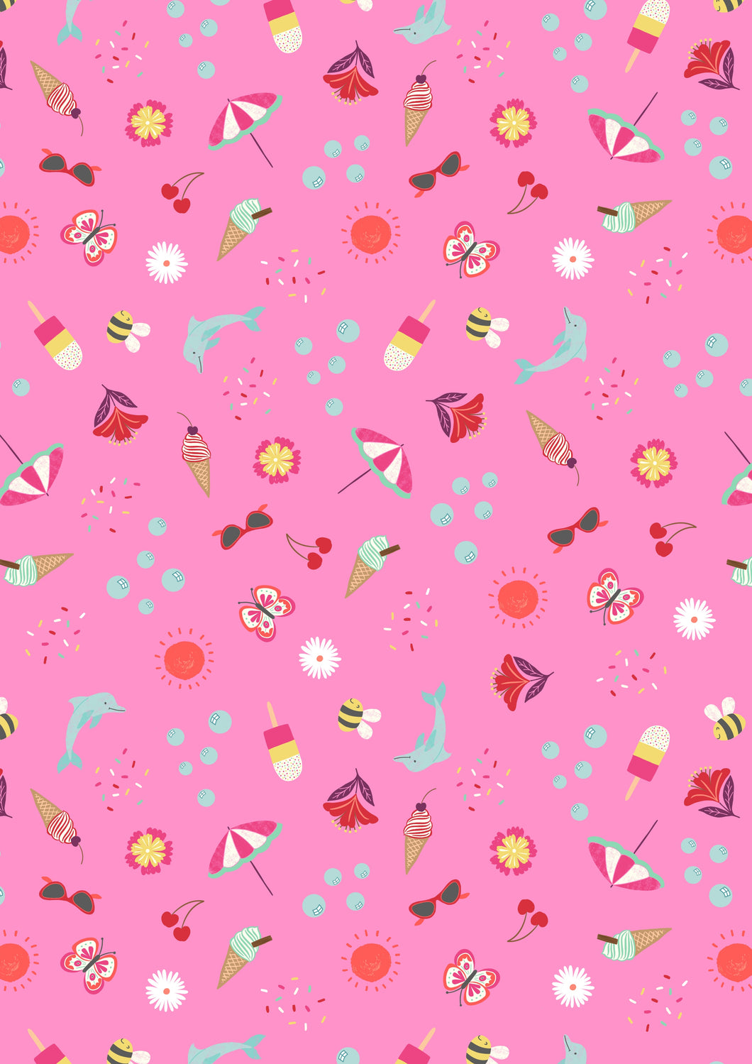 Lewis & Irene - Summer - Tropical Pink - 1/2 YARD CUT