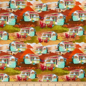 3 Wishes Fabric - The Great Outdoors - Campers - 1/2 YARD CUT