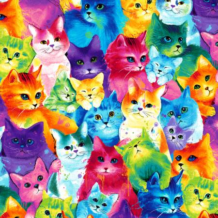 Timeless Treasures - Multi-Colored Packed Cats - 1/2 YARD CUT