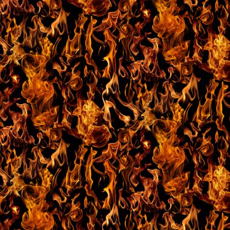 Timeless Treasures - Black Fire/Flames - 1/2 YARD CUT