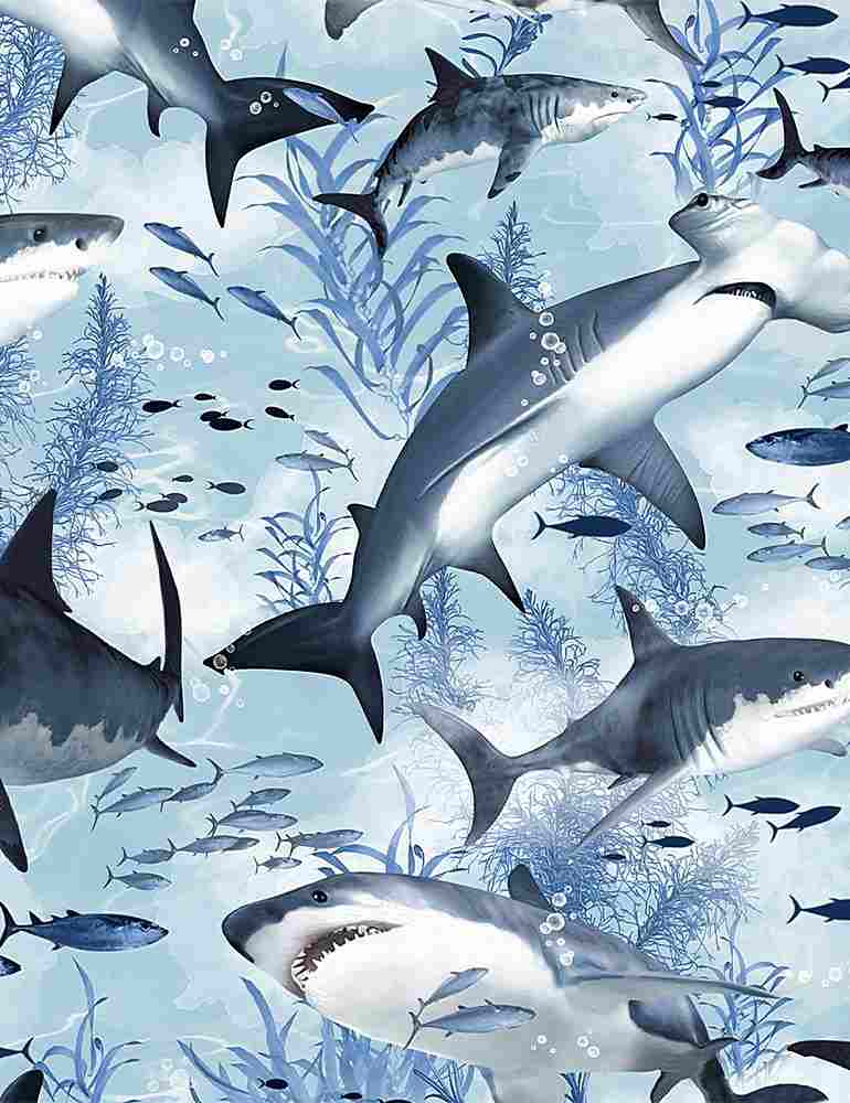 Timeless Treasures - Sharks - 1/2 YARD CUT