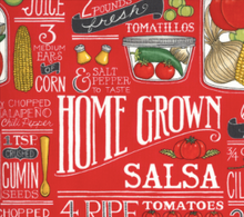 Load image into Gallery viewer, chef salt recipe cumin homegrown salsa peppers jalapeño tomato onion corn jars white salt recipes pepper moda fabrics tomato red