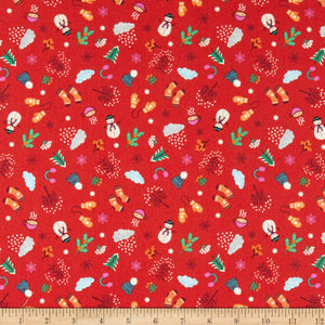Lewis & Irene - Winter - Red - 1/2 YARD CUT