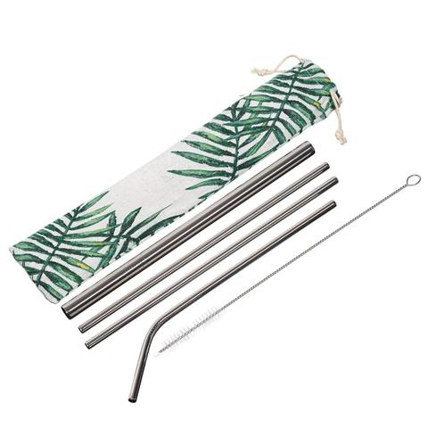 This reusable, eco-friendly stainless steel straw set consists of 2 standard straws, 1 bent straw, 1 boba straw, cleaning brush and drawstring cotton pouch in a palm-frond print.