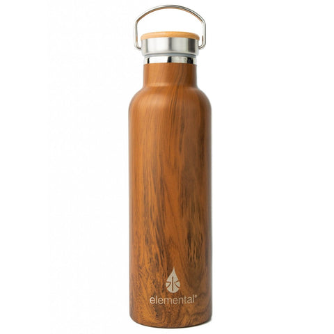 This Elemental stainless steel classic water bottle with teak wood finish is made of premium quality, 25 oz (750 ml) insulated 18/8 stainless steel with bamboo cap, ensuring no flavor transfer or aftertaste.