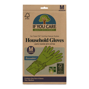 Unlike other brands, If You Care Household Gloves are made from 100% latex and contain no fillers, so they are compostable as well. They are super strong and perfect for a variety of uses like dishwashing, house and bathroom cleaning, and gardening. Medium Size.