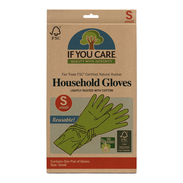 Unlike other brands, If You Care Household Gloves are made from 100% latex and contain no fillers, so they are compostable as well. They are super strong and perfect for a variety of uses like dishwashing, house and bathroom cleaning, and gardening. Small Size.