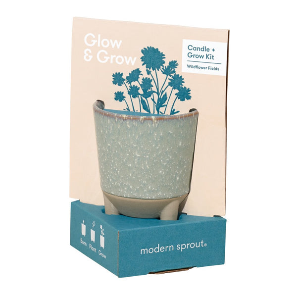 Burn, plant, and grow! This ceramic candle vessel transforms into a planter after the flame has burned down and includes a complete kit to grow a beautiful plant—your choice of daisy or aloe.