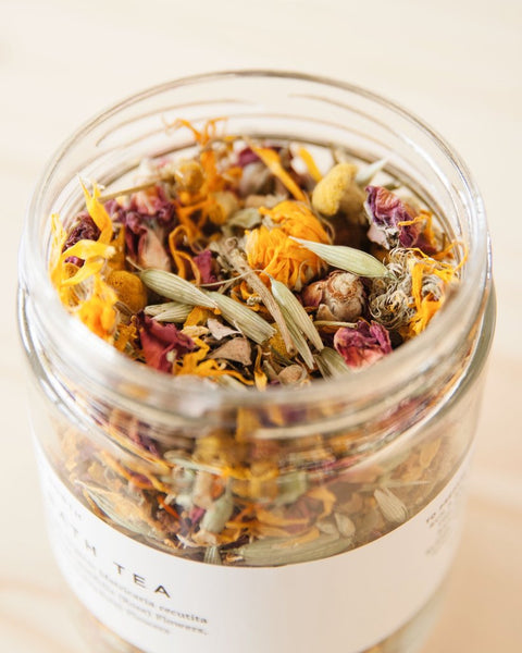 This Herbal Bath blend—with chamomile, rose, and calendula—is a perfect way to enjoy the healing benefits of plants with properties soothing to both the skin and spirit.