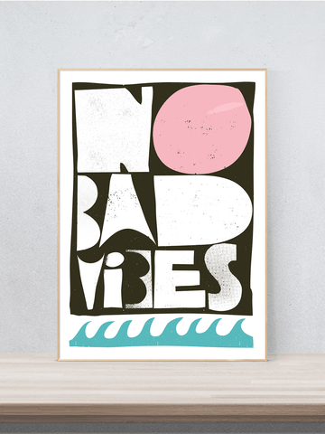 No bad vibes, Digitaldruck signiert, modern, abstrakt, Poster, Druck