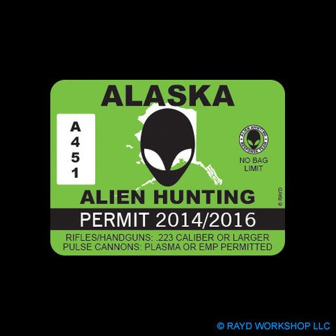 Alaska Alien Hunting Permit Self Adhesive Sticker