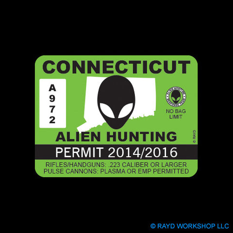 Connecticut Alien Hunting Permit Self Adhesive Sticker