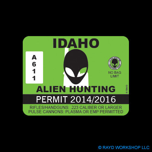Idaho Alien Hunting Permit Self Adhesive Sticker