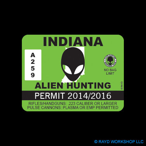 Indiana Alien Hunting Permit Self Adhesive Sticker
