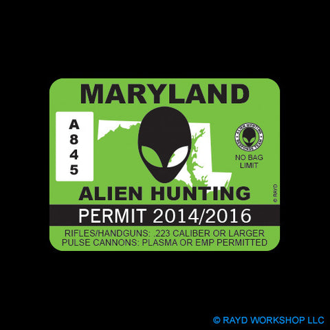 Maryland Alien Hunting Permit Self Adhesive Sticker