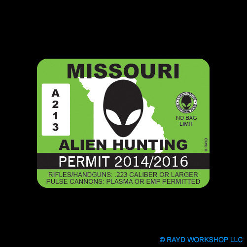 Missouri Alien Hunting Permit Self Adhesive Sticker