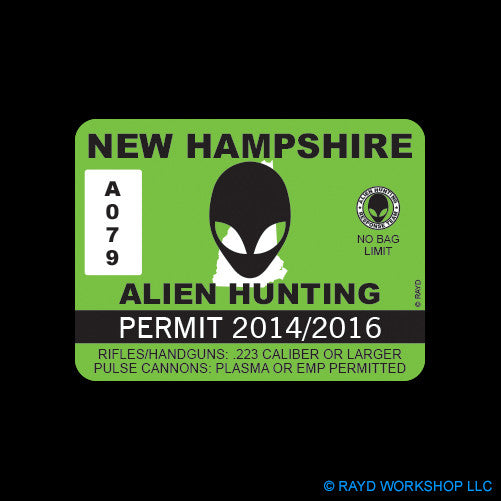 New Hampshire Alien Hunting Permit Self Adhesive Sticker