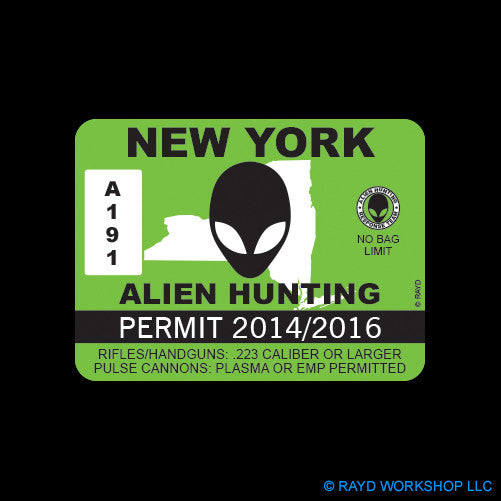 New York Alien Hunting Permit Self Adhesive Sticker