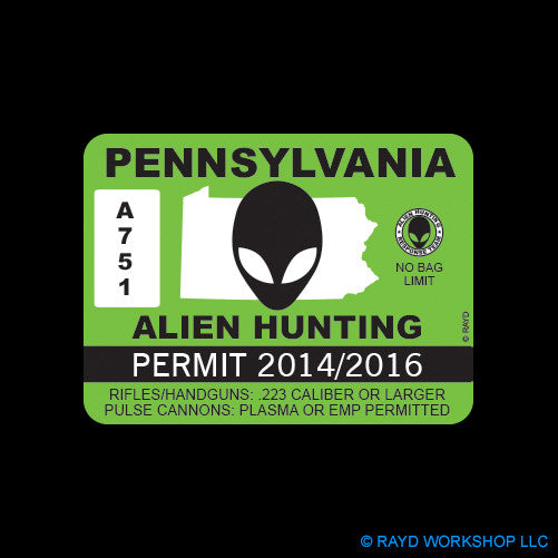 Pennsylvania Alien Hunting Permit Self Adhesive Sticker