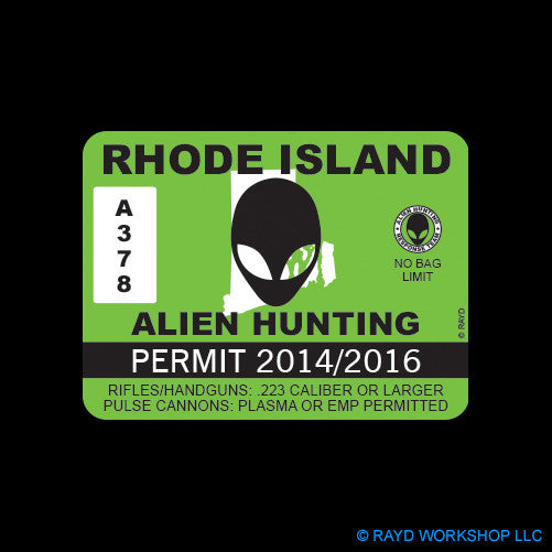 Rhode Island Alien Hunting Permit Self Adhesive Sticker