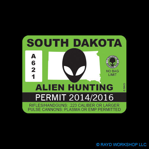 South Dakota Alien Hunting Permit Self Adhesive Sticker