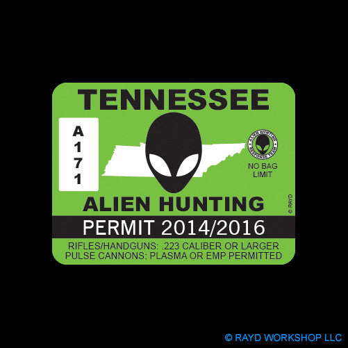 Tennessee Alien Hunting Permit Self Adhesive Sticker