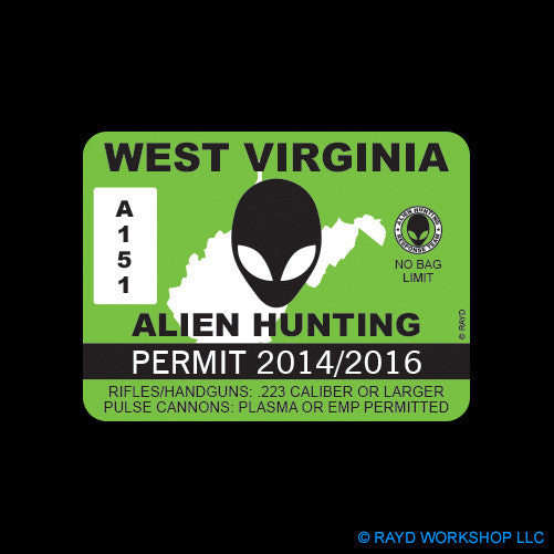 West Virginia Alien Hunting Permit Self Adhesive Sticker