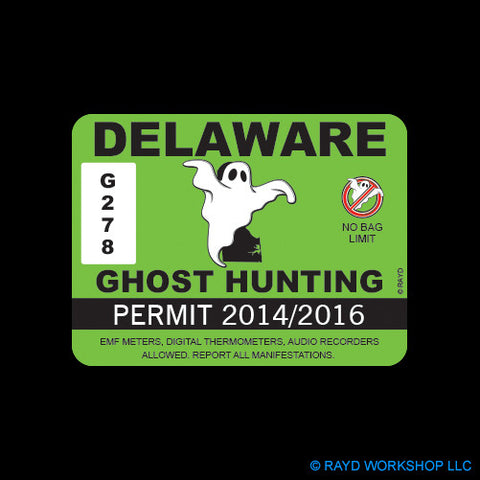 Delaware Ghost Hunting Permit Self Adhesive Sticker