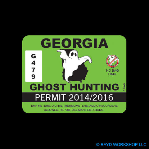 Georgia Ghost Hunting Permit Self Adhesive Sticker