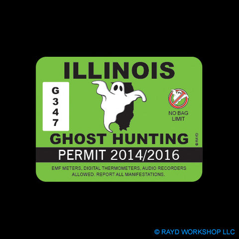 Illinois Ghost Hunting Permit Self Adhesive Sticker