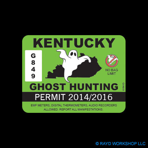 Kentucky Ghost Hunting Permit Self Adhesive Sticker