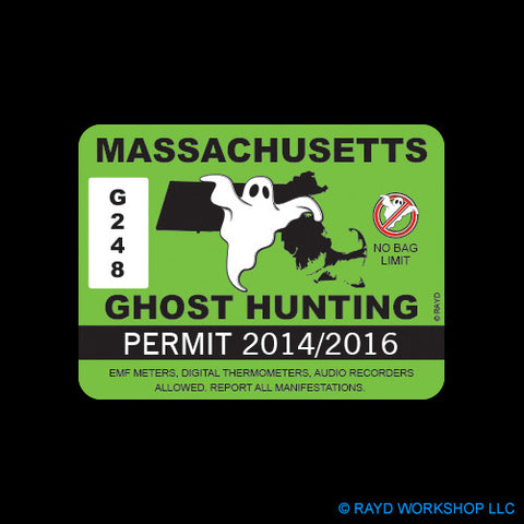 Massachusetts Ghost Hunting Permit Self Adhesive Sticker