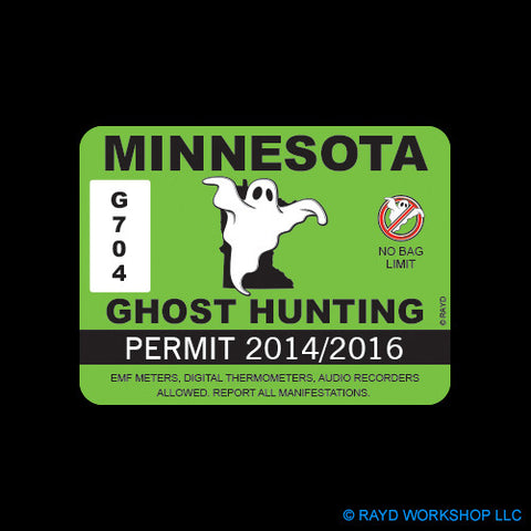 Minnesota Ghost Hunting Permit Self Adhesive Sticker