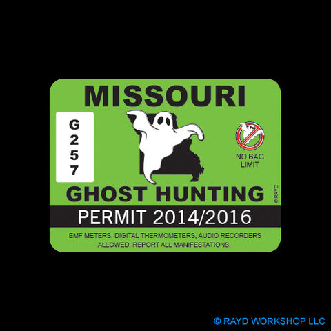 Missouri Ghost Hunting Permit Self Adhesive Sticker