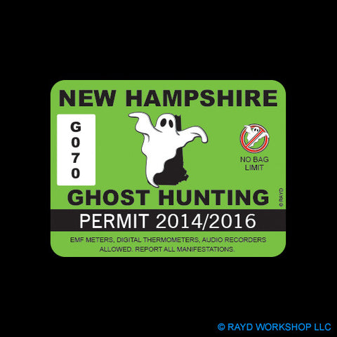 New Hampshire Ghost Hunting Permit Self Adhesive Sticker