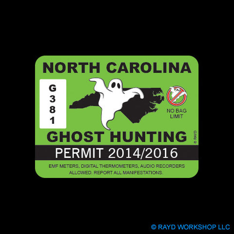North Carolina Ghost Hunting Permit Self Adhesive Sticker