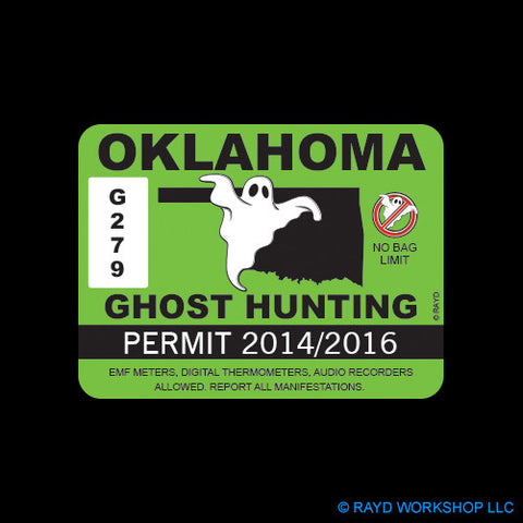 Oklahoma Ghost Hunting Permit Self Adhesive Sticker