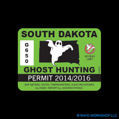 South Dakota Ghost Hunting Permit Self Adhesive Sticker