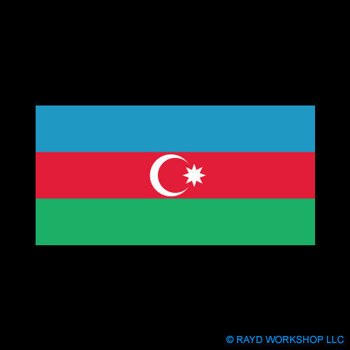 Azerbaijani Flag Self Adhesive Sticker
