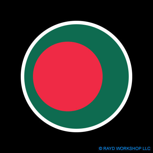 Round Bangladeshi Flag Self Adhesive Sticker